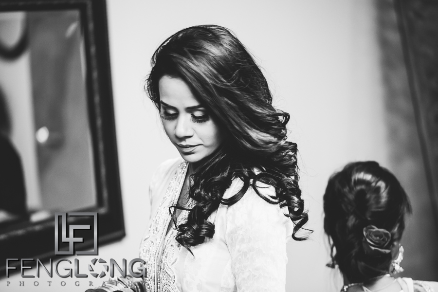 Bangladeshi bride getting ready for her Muslim engagement ceremony