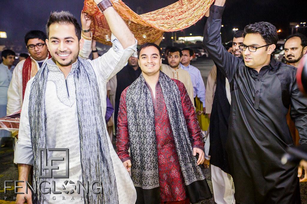 Groom's entrance on Mehndi night at Seasons Event Center in Muslim wedding