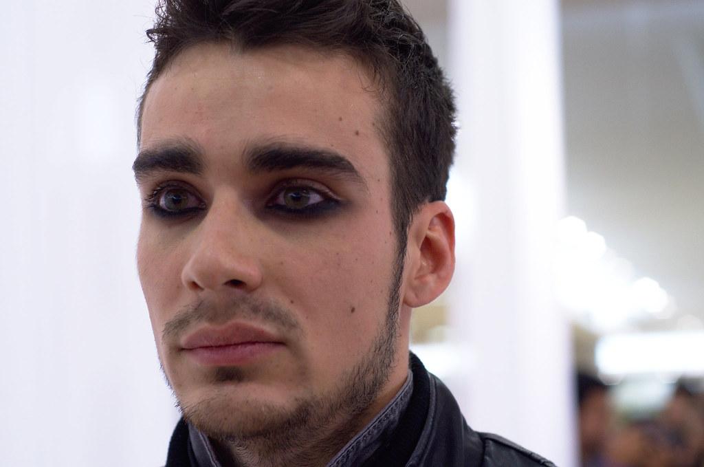 Runway male model close-up portrait