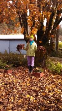 Nina Zweifel playing in the fall leaves
