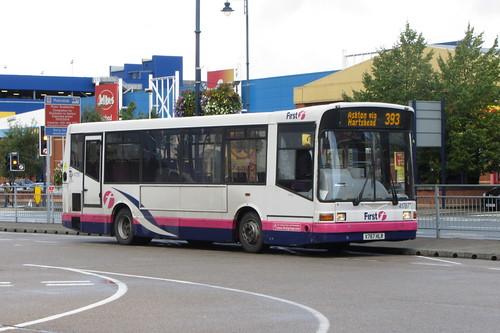 Dennis Dart SLF Marshall body, X787 HLR, First Greater Manchester, Ashton-under-Lyne bus station