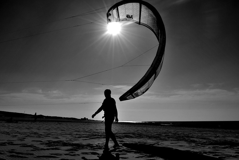 What remains are the tough kite surfers.