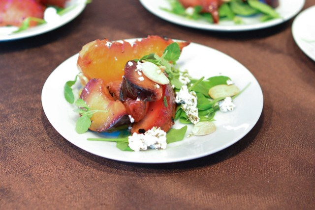 Hearty Boys Restaurant grilled stone fruit salad, herbed chevre