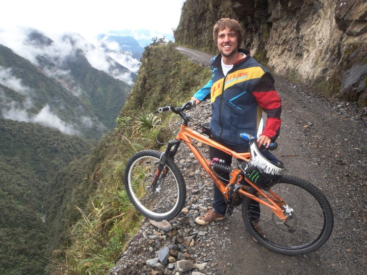 Riding along the Bolivian death road
