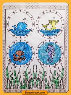 Seasational Sealife, coloring by Ruben