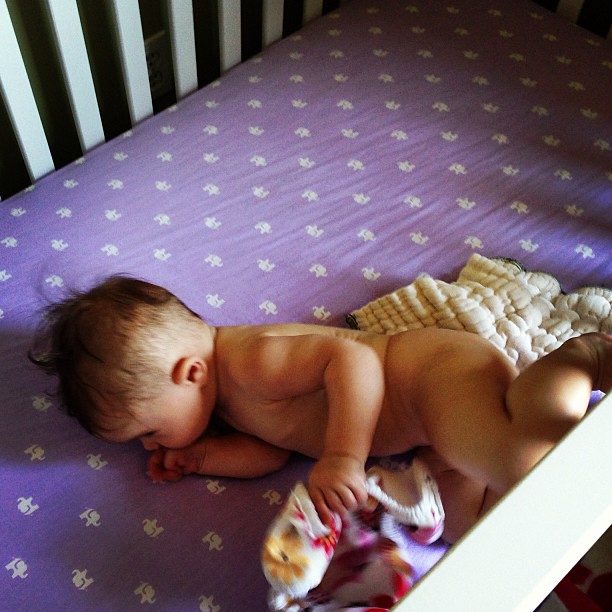 She doesn't want to wear a diaper for nap time. I know it's hot, but this isn't gonna work.