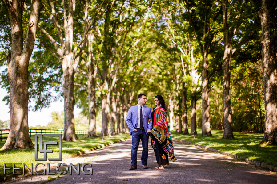Engagement photo under the trees at Berry College