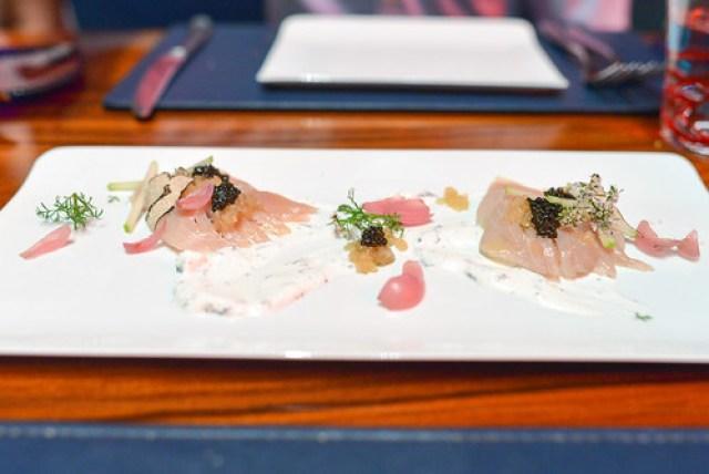 Hamachi Crudo uni, smoked salmon roe, pickled radish, black garlic purée
