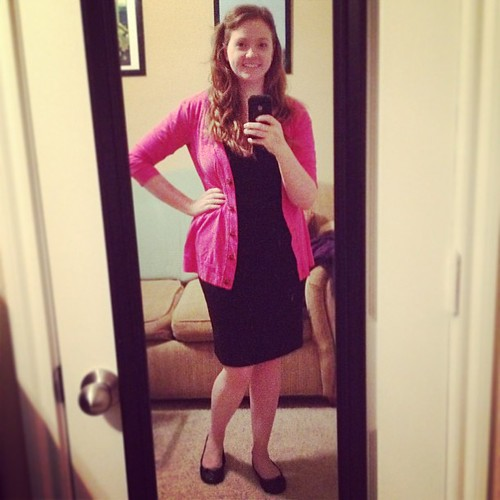 Wearing pink for our bi-monthly mammograms at work! #ootd