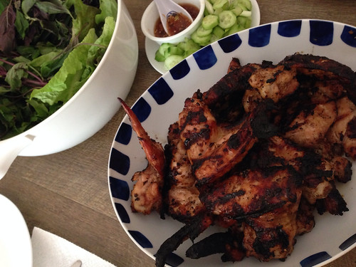 Grilled lemongrass chicken, lettuce, cucumbers and herbs