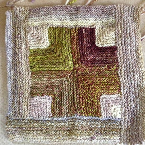 Square 6 #knitting #handspun #helloyarn #mitered #miteredcross #blanket #nofilter