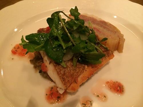 真鯛のポアレ・白菜と生ハムのミルフィーユ添え@オルガン