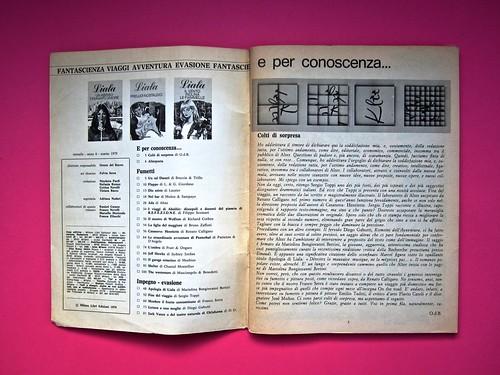 Alter Alter, marzo 1979, anno 6, numero 3. Direzione: Oreste del Buono, art director: Fulvia Serra. Verso della copertina, pag. 3 (part.), 1
