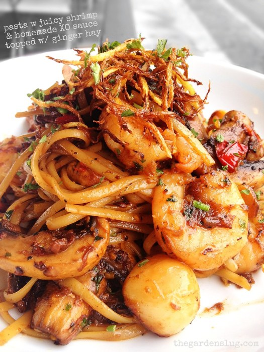 Pasta tossed in homemade XO sauce and caramelised shrimp