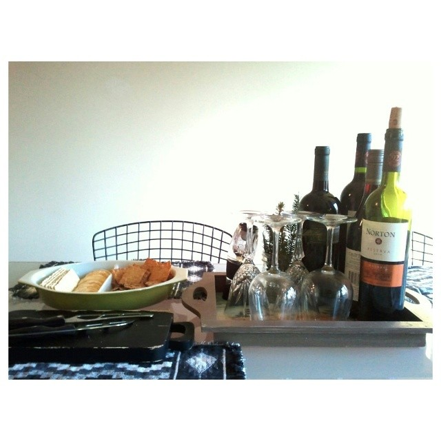 Getting ready for tonight's dinner party. #onthetable #wine #cheeseandcrackers #tablescape
