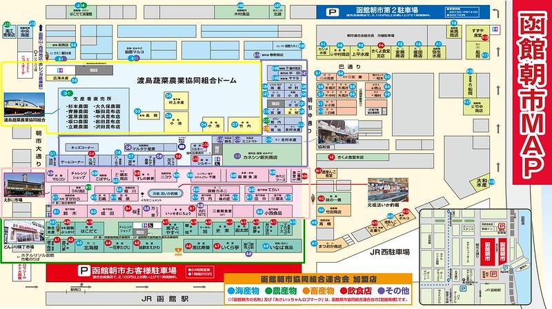 函館朝市市場區分分佈圖
