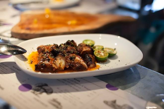 Chargrilled octopous with chorizo and calamansi