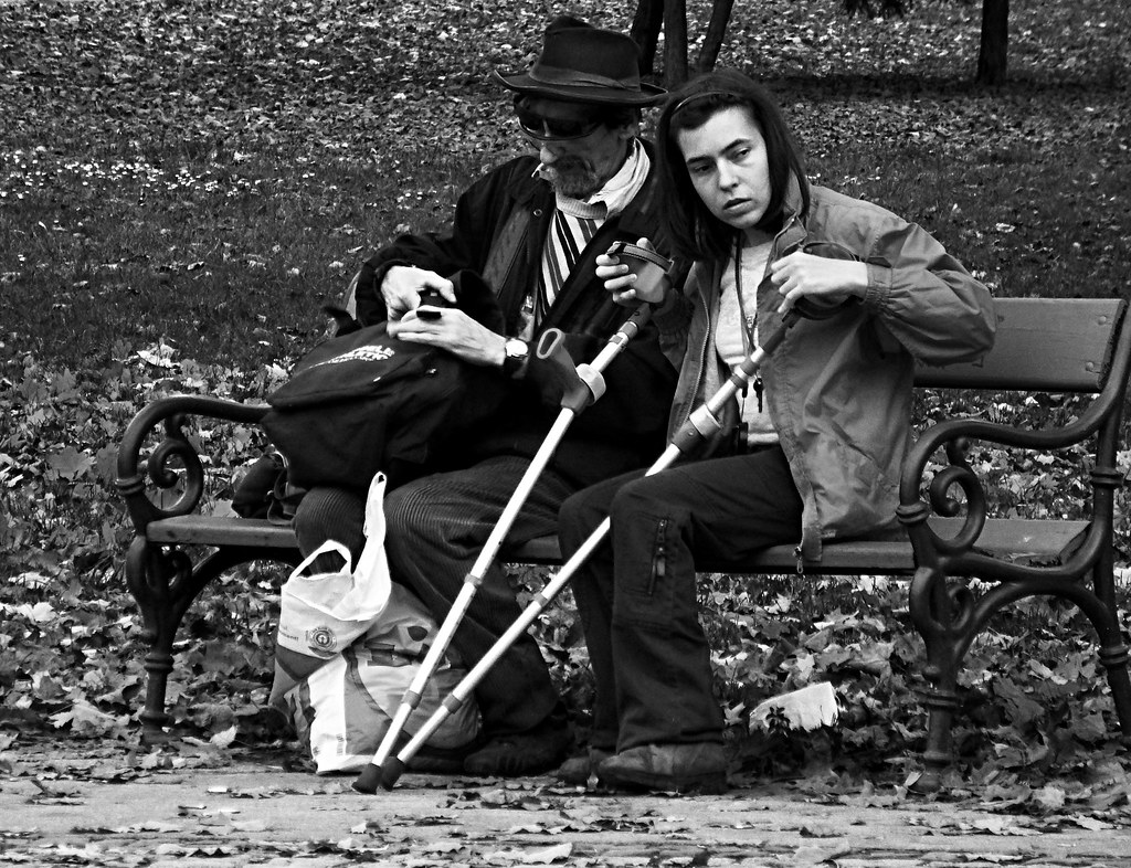 Couple on the Bench B&W
