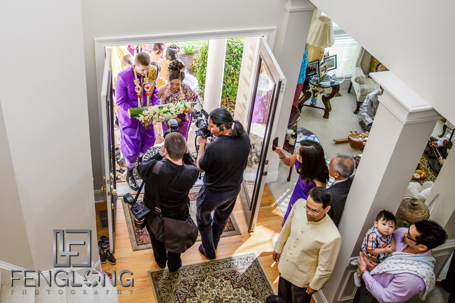 Cambodian bride and American groom make their entrance