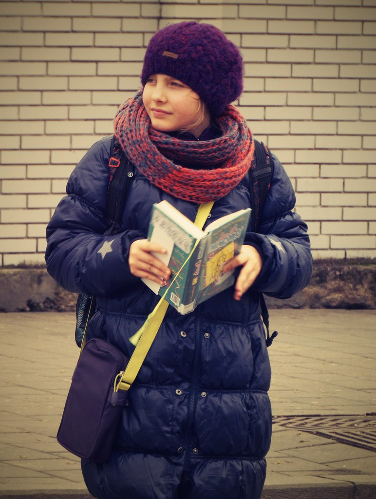 Reading Girl at Tram Stop 4