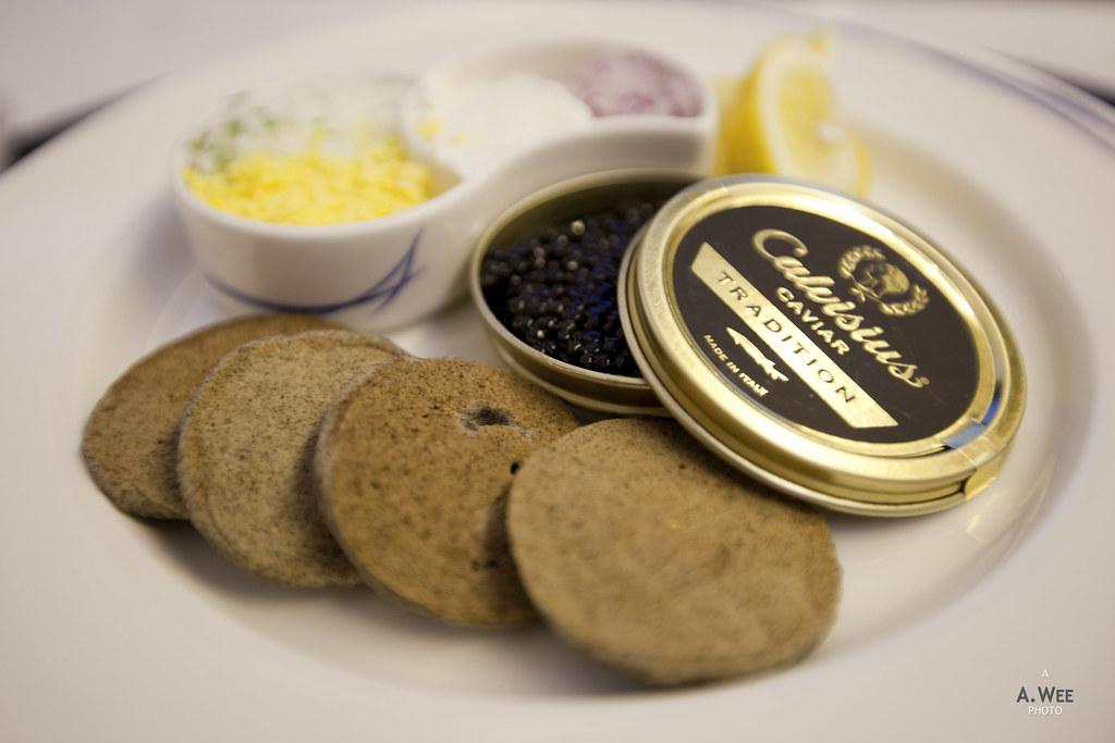 Caviar with traditional garnish