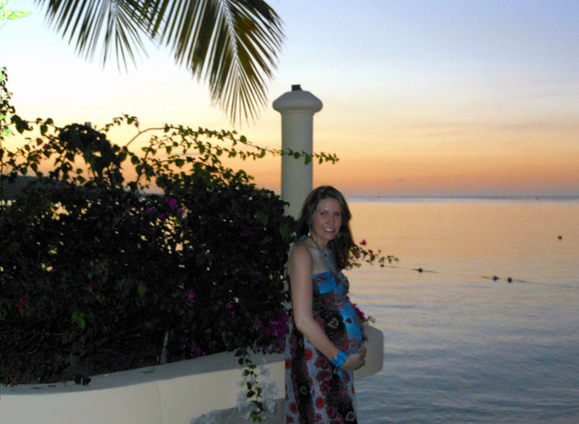 Sunset in Jamaica on the babymoon.