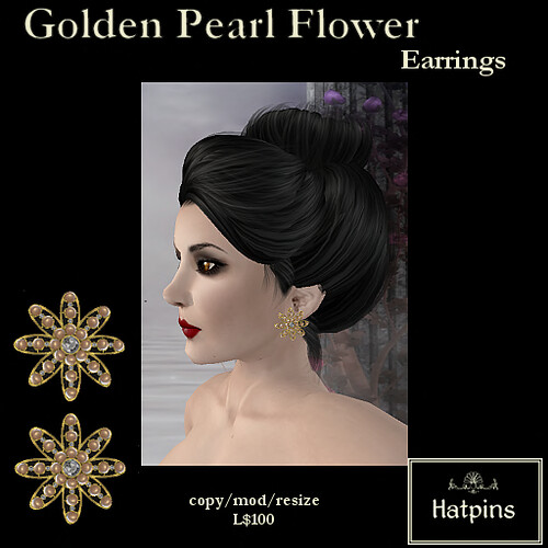 Hatpins - Golden Pearl Flower Earrings