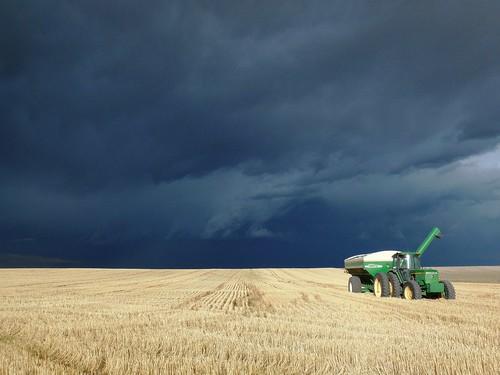 Dark clouds behind grain cart