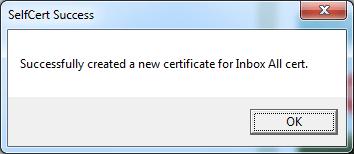กด OK อีกที เป็นอันเรียบร้อย ในการสร้าง Certificate