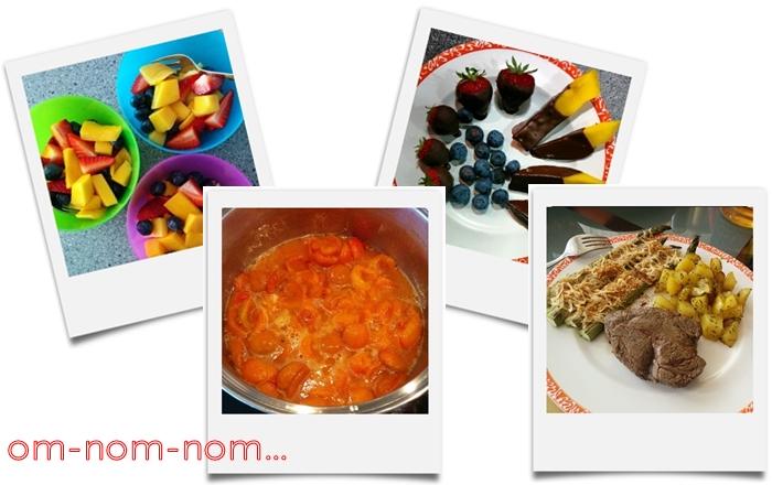 fruchtsalat   marillenmarmelade   erdbeeren mango heidelbeere mit schoko   steak mit spargel und bratkartoffeln