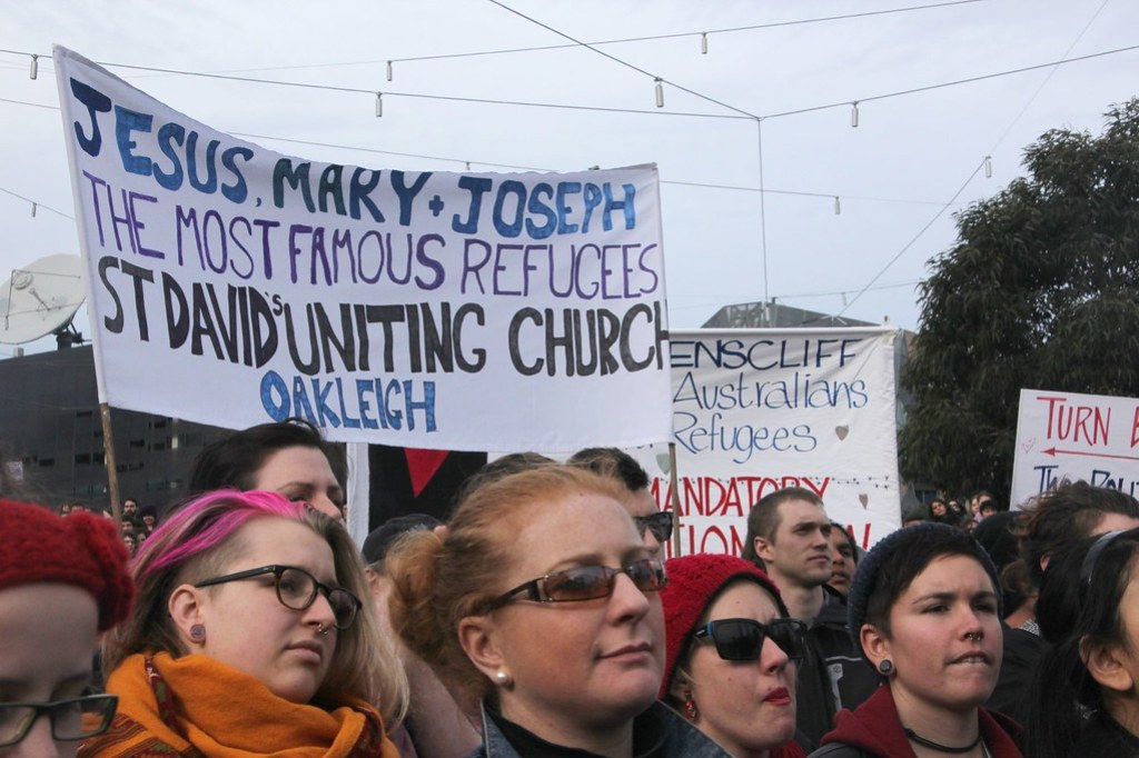 Jesus, Mary, Joseph the most famous refugees - Refugee Action protest 27 July 2013 Melbourne