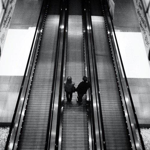 Couple on escalator