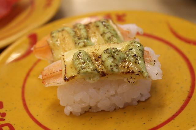 Nigiri de gamba con mayonesa de wasabi