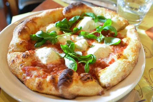 Margherita with burrata, tomato & basil