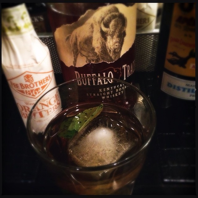 Buffalo Trace Bourbon - cocktail with muddled  mint, orange bitters, Bonal Gentiane Quina