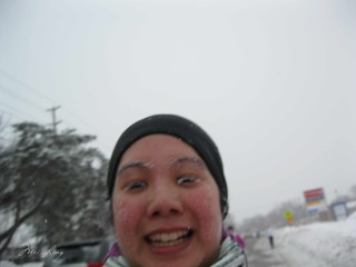Another running selfie. Snow is forming on my eyelashes and cheeks.