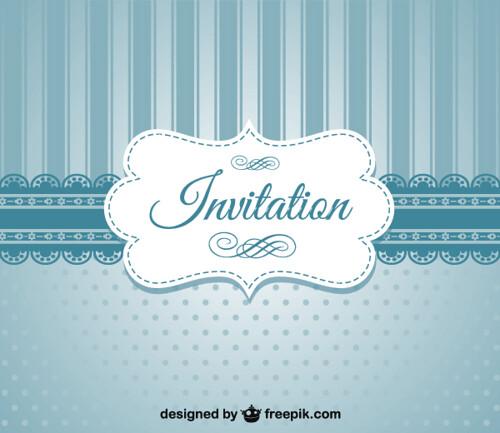 Retro Blue Invitation Card Template