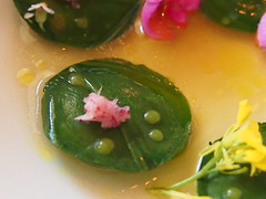 detail: Skagen shrimps and ramsons, rhubarb root and flowers