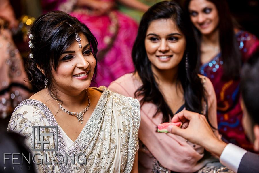 Ismaili Muslim Indian bride during Khoba Khobi ceremony