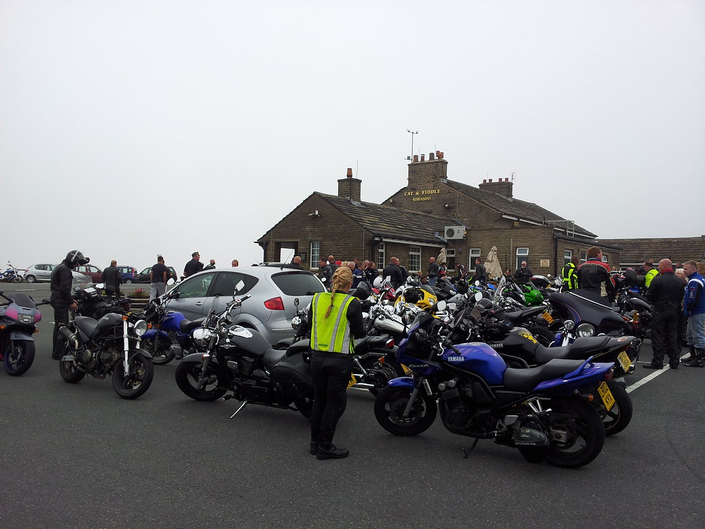 Bikers gathering at Cat & Fiddle