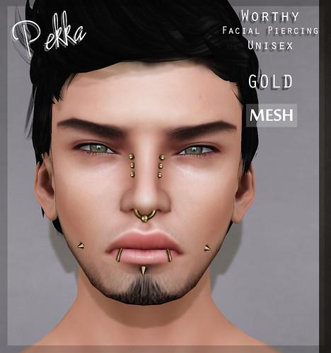 pekka worthy facial piercing gold mesh