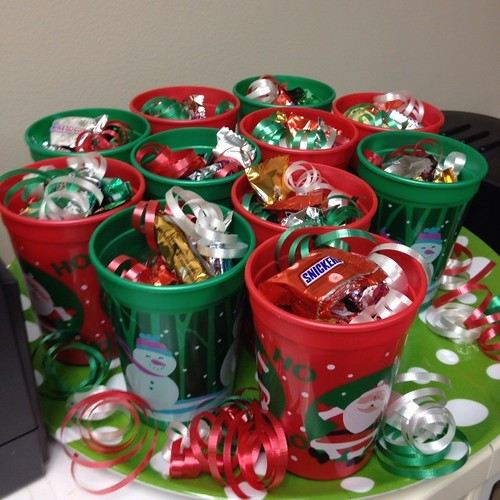 On the 8th day of Christmas.... Holiday themed cups filled with candy!