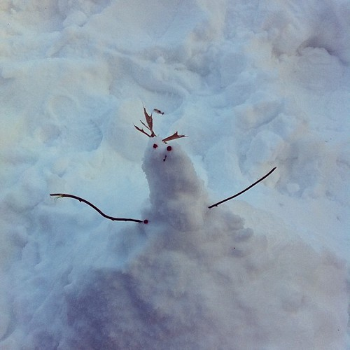 "This snow will not pack! But we can't leave Michigan without crossing ""snowman"" off of Finn's to-do list, so...um..."