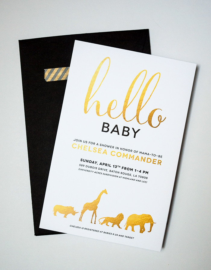 Gold and White Safari Animal Baby Shower Invitation