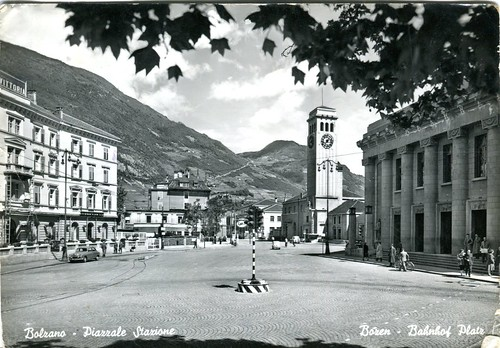 postcard - bolzano - piazza stazione - 1959