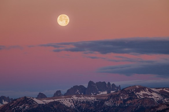 Moon and Belt of Venus over The Minarets, High Sierra, California