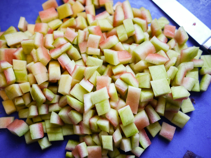 Watermelon Rind Preserves - Cut into pieces