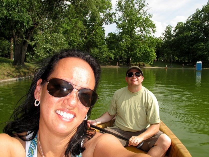 Heather and Matt canoeing around City Park.