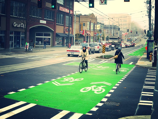 The Broadway cycletrack. Courtesy of SDOT.