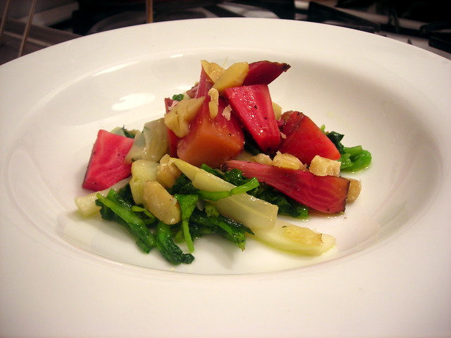 Roasted beet salad, with watercress, fennel and chestnuts